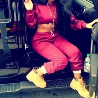 shirt sweatsuit set sweats crop tops cropped athletic burgundy burgundy sweater timbs and crop top
