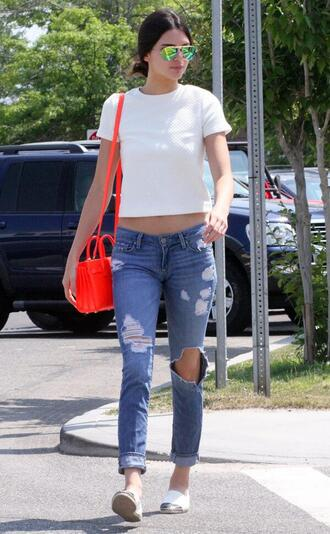 jeans kendall jenner shoes bag sunglasses kendall and kylie jenner slip on shoes white shoes casual style streetwear streetstyle top