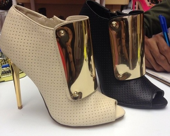 high heels shoes gold heel gold plated perforated open toe ankle booties