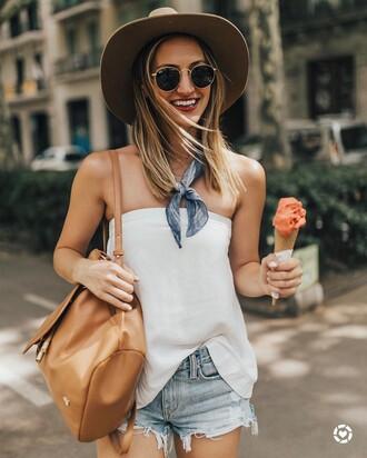 top scarf hat tumblr white top backpack shorts denim shorts felt hat sunglasses bag