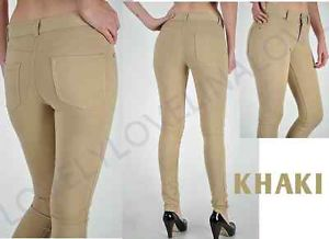 Khaki beige comfy soft moleton stretch knit skinny jean legging jegging pant