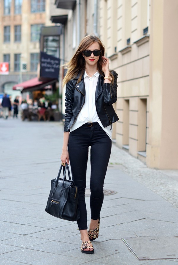 vogue haus jacket jeans shoes bag jewels sunglasses leather jacket perfecto leopard print preppy blouse & other stories topshop