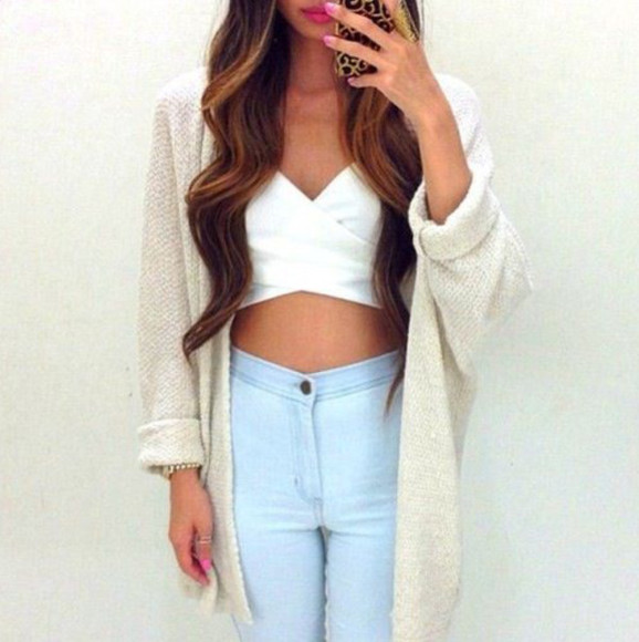 sweater acid wash jeans white crop tops cardigan tank top