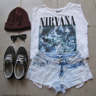 shirt t-shirt nirvana t-shirt vans hat skirt jeans t-shirt nirvana denim shorts band merch teenage spirit nirvana tshirt blue white grunge nirvana t-shirt muscle tee letters