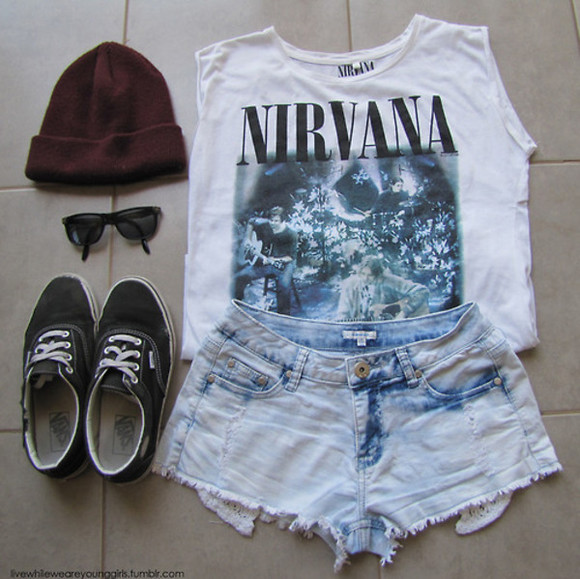 t-shirt nirvana bands jean shorts teenage spirit tshirt shirt nirvana t-shirt vans authentic hat