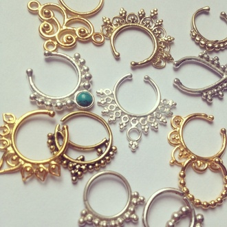 jewels silver brass septum piercing clip peirce