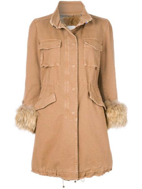 coat fur women spandex nude cotton