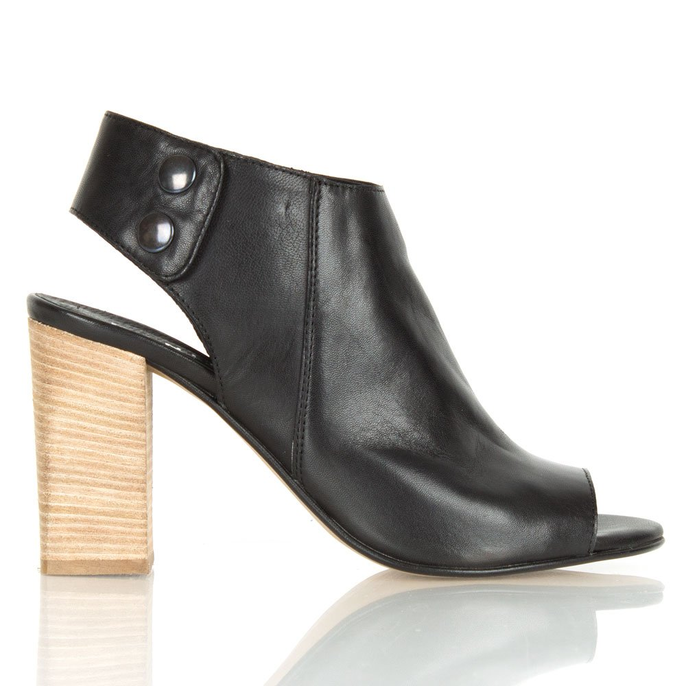 Daniel Flaunting Black Leather Peep Toe High Fronted Sandal
