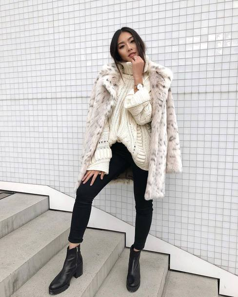 sweater tumblr white sweater knit knitwear knitted sweater turtleneck turtleneck sweater jeans denim black jeans boots black boots ankle boots coat fur coat