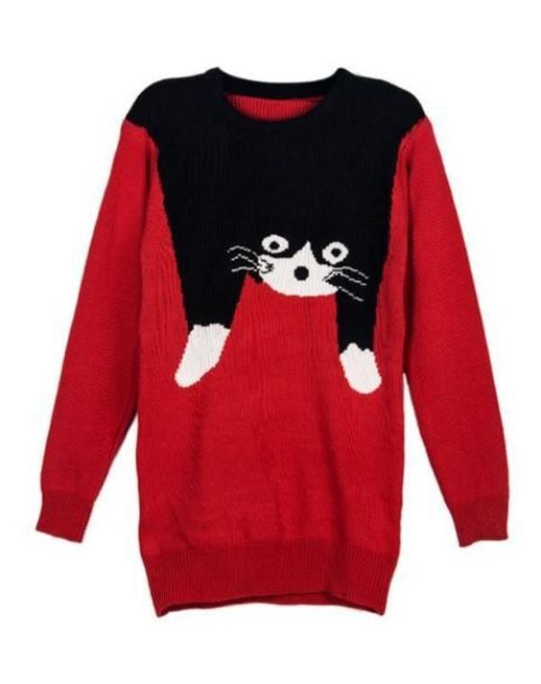 red sweater cat sweater intarsia sweater black cat sweater acrylic sweater www.ustrendy.com