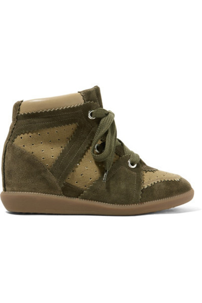 Isabel Marant sneakers suede green army green wedge sneakers shoes
