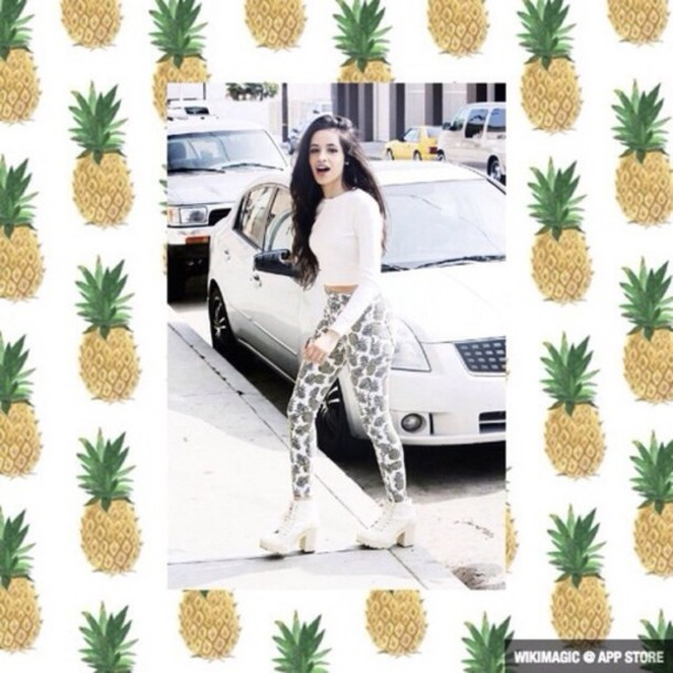 jeans pants cute pineapple camila cabello Fifth Harmony shirt shoes long sleeves white green