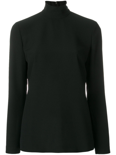 Sara Battaglia - roll-neck fitted sweater - women - Polyester - 42, Black, Polyester
