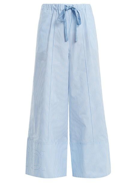 Fendi cotton light blue light blue pants