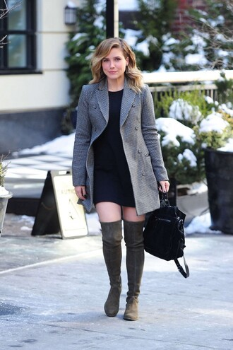 bag coat dress boots sophia bush