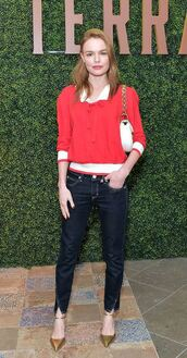 sweater,jeans,denim,pumps,shirt,kate bosworth,spring outfits,shoes