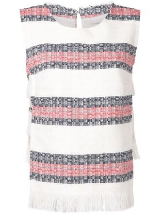 top striped top women white cotton