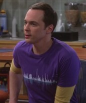 t-shirt,purple,sound waves,jim parsons,big bang theory,sheldon cooper