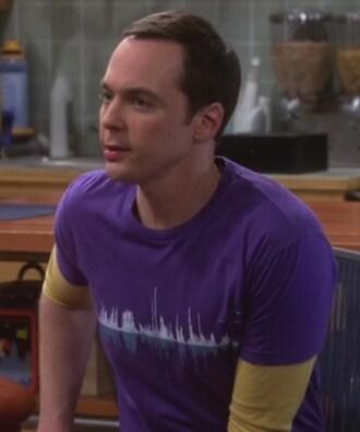 t-shirt purple tee sound waves jim parsons big bang theory sheldon cooper