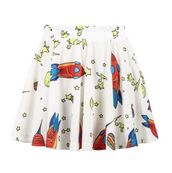 rocket and stars print,pleated mini skirt,stars,rocketship,mini skirt,www.ustrendy.com