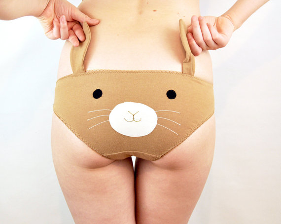 Bunny face knickers with ears lingerie underwear by knickerocker