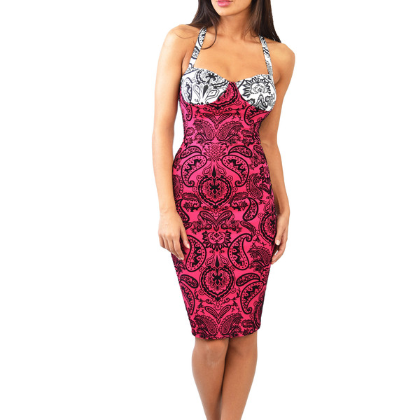 Paisley crossback bodycon dress