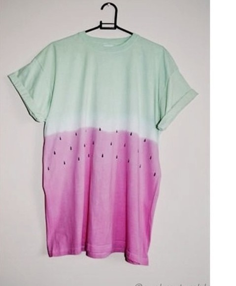 t-shirt shirt green pink acid pale watermelon sweet hipster