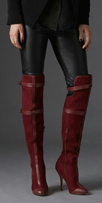 shoes deep red sexy heels boots fall colors