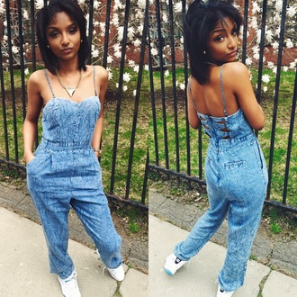 jumpsuit ashely bautista jeans denim overalls skirt