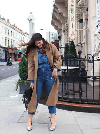 fashion foie gras blogger shirt jeans shoes coat bag winter outfits denim shirt pumps fringed bag
