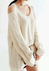 sweater,white cold shoulder sweater,knitted cold shoulder sweater,knitted cold shoulder white sweater,cold shoulder sweater