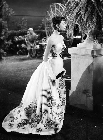 dress ball gown dress audrey hepburn actress long dress maxi dress gown floral dress white dress gloves white gloves purse vintage dress