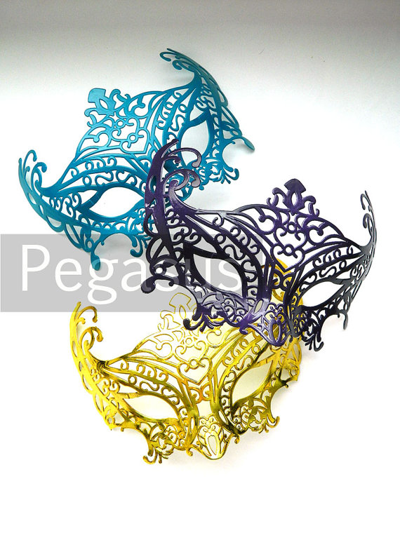 Mardi gras teal purple and gold mask 3 mask by pegasus22 on etsy