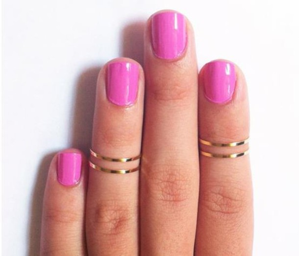 jewels ring double ring gold fashion women jewelry copper joint silver pink nails accessories knuckle ring