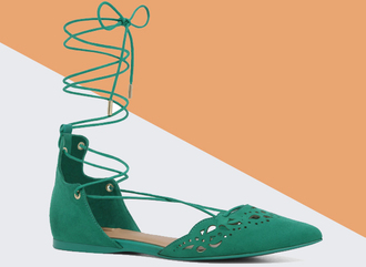 shoes green shoes suede shoes strappy flats flats