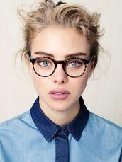 sunglasses,glasses,t-shirt,hipster wishlist,denim shirt,blonde hair,university,model,odel style,shirt