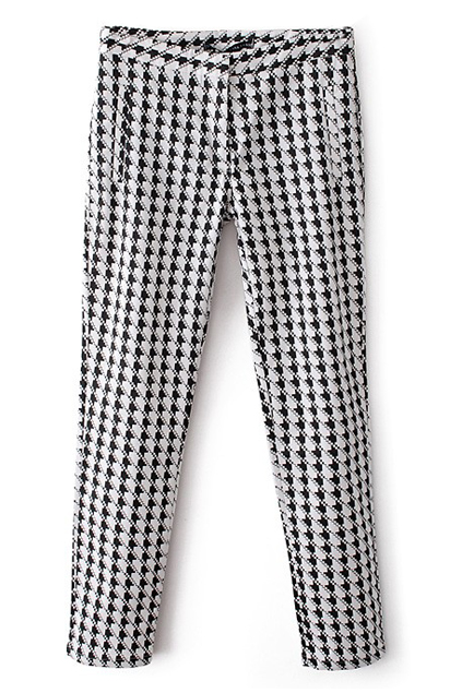 ROMWE | Houndstooth Print Skinny Pants, The Latest Street Fashion