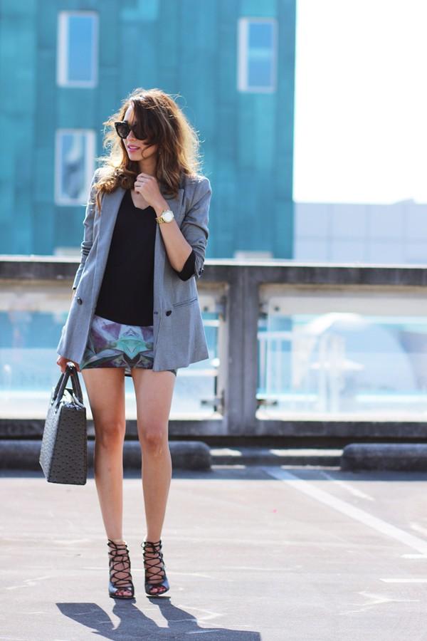 preppy fashionist jewels t-shirt jacket skirt shoes bag sunglasses