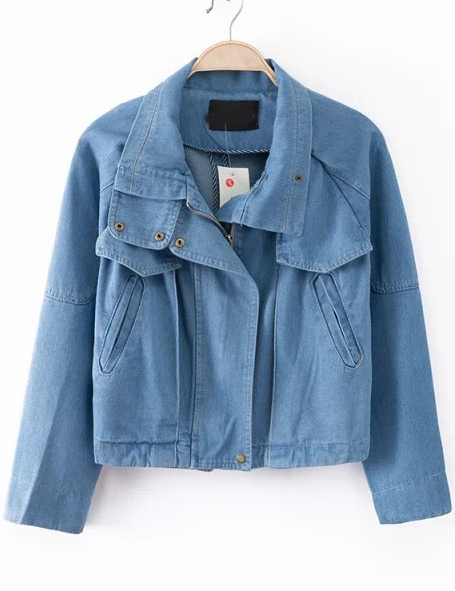Blue lapel long sleeve loose denim coat