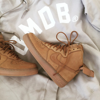 shoes nike air max jordan nike air force nike air force 1 mid brown beige velcro adidas superstar white omob sneakers boots swoosh tumblr cool grunge crop tops skirt t-shirt grey brandy melville wheat nike air nike shoes suede