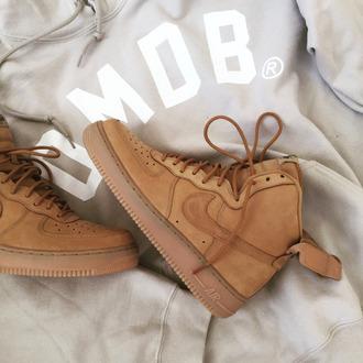 shoes nike air max jordan nike air force nike air force 1 mid brown beige velcro adidas superstar white omob sneakers boots swoosh tumblr cool grunge crop tops skirt t-shirt grey brandy melville wheat