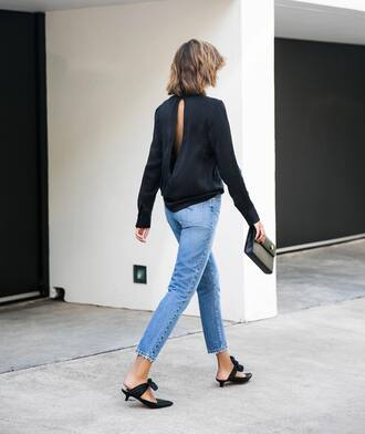 shoes jeans mules black mules bag open back open back blouse open back top black top