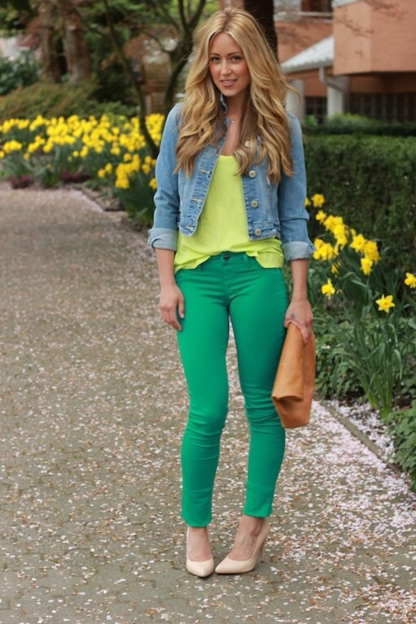 jacket denim jacket denim clothes green neon pants