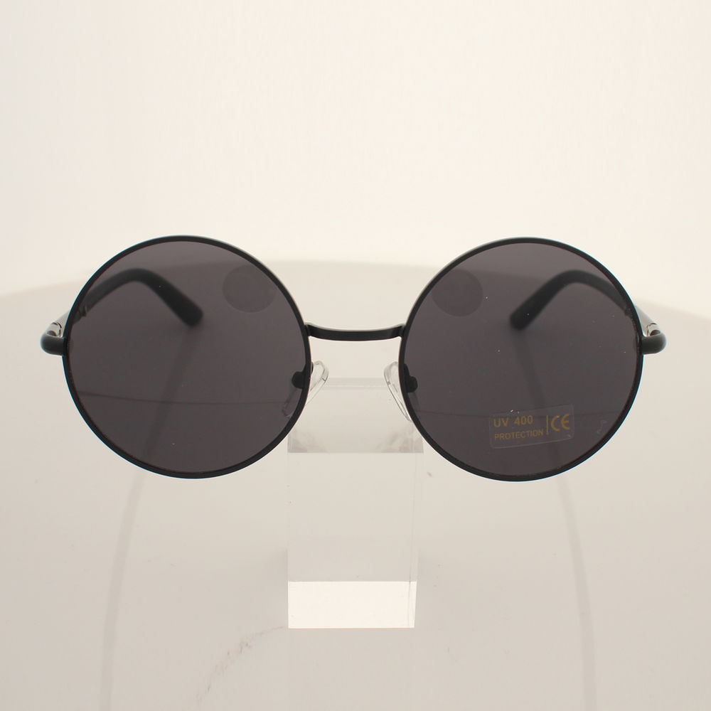 Mens Womens Vintage Classic Retro Fashion Circle Round Sunglasses Black Lens | eBay