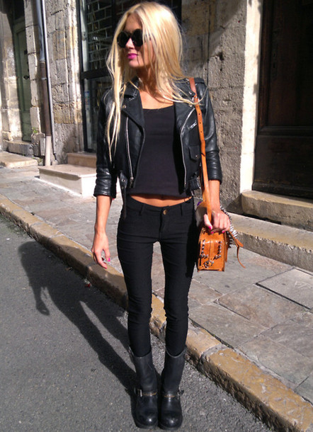 7c0069e63a9 jacket celebrity black jeans shoes shirt bag sunglasses pants tank top  make-up leather jacket
