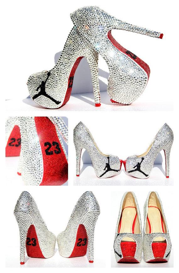 pretty nice 05e2e ff8e0 shoes, heels, white, black, dope, jordans, high heels, cute, cute high heels,  peep toe, 23, black and white, jordan heels, air jordan, jordan black and  ...