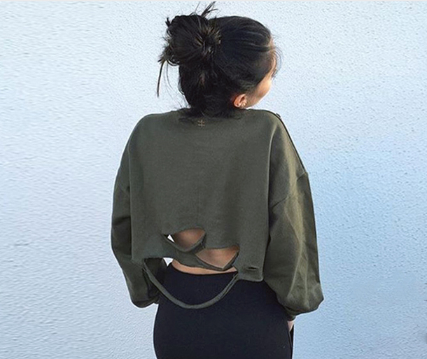 sweater green ripped cool fashion style trendy cropped long sleeves beautifulhalo