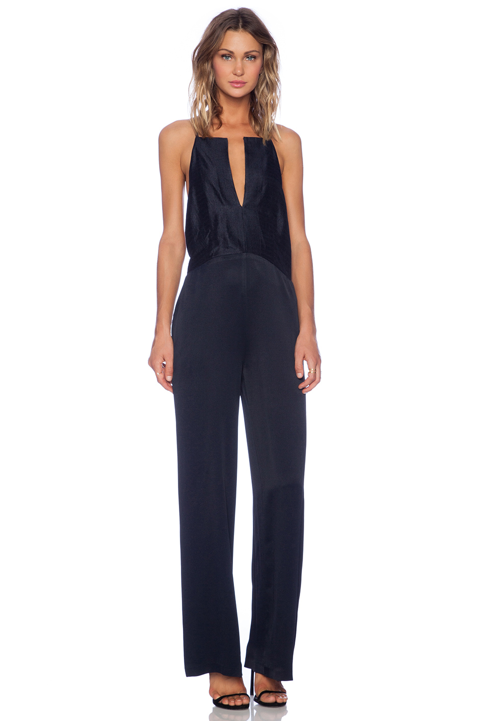 Vivian chan theresa jumpsuit in navy from revolveclothing.com