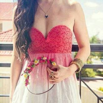 dress crochet lace red white floral flowers necklace bracelets gold heart dip dyed ombre tie dye