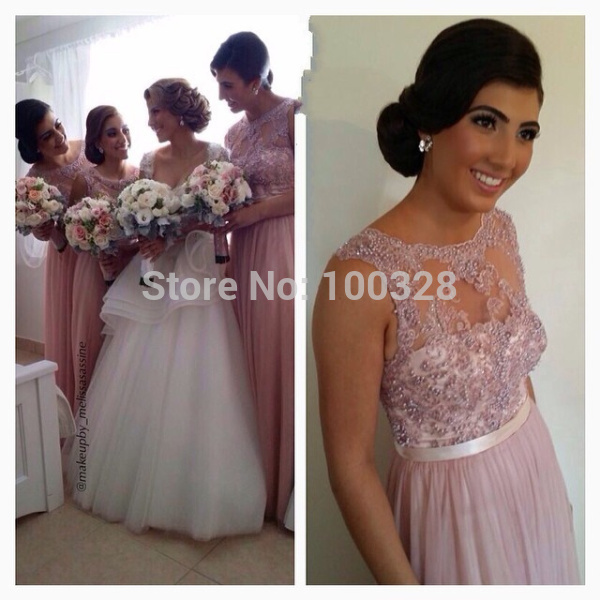 Aliexpress.com : buy 2014 new style vestidos floor length cap sleeve scoop neckline with appliques chiffon a line bridesmaid dresses free shipping from reliable cap earflap suppliers on rose wedding dress co., ltd